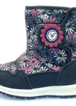 Детская обувь, зимние дутики для девочки, тм сказка, р 21-26