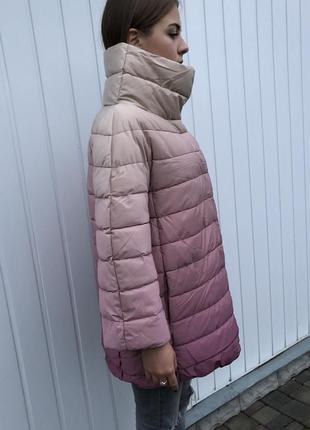 Новая куртка на синтепоне за колено на зиму омбре италия