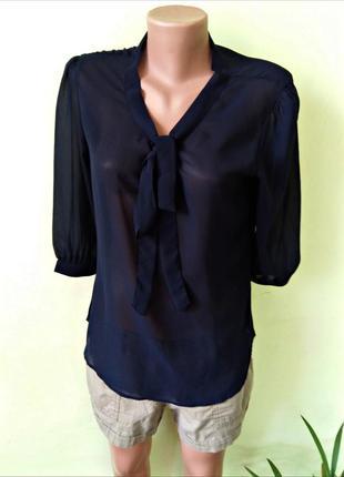 Блуза сорочка стильная темно синяя ,шифоновая офис/деловой стиль