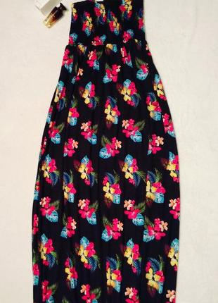 Длинное платье сарафан макси цветочный принт