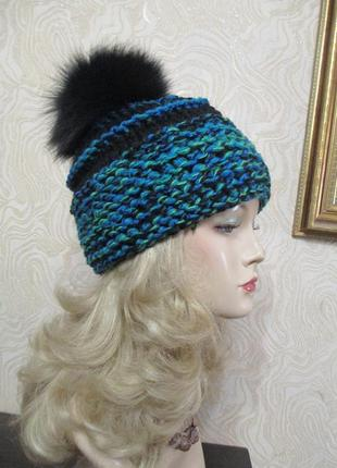Вязаная теплая шапка крупной вязки № 110