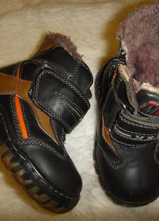 Теплые кожаные сапоги на овчине на мальчика мхм р. 22-23 (13 см)