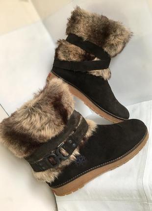 Сапоги полусапожки кожаные зимние, с мехом, 40/41 размер, швеция.
