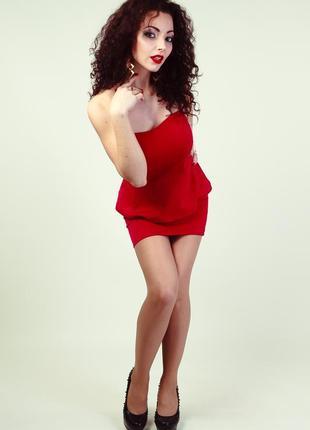 Секси короткое платье бюстье с баской