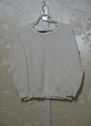 Белый свитер реглан в рубчик atmosphere
