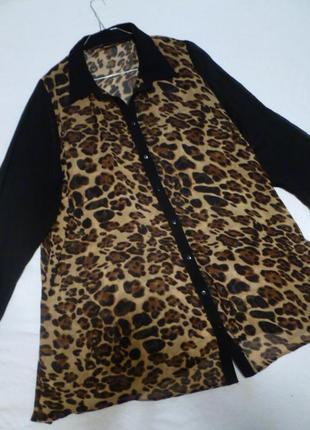 1+1=3 актуальная принт анимал леопард тренд 2019 шифоновая блуза большой размер 58 бренд е