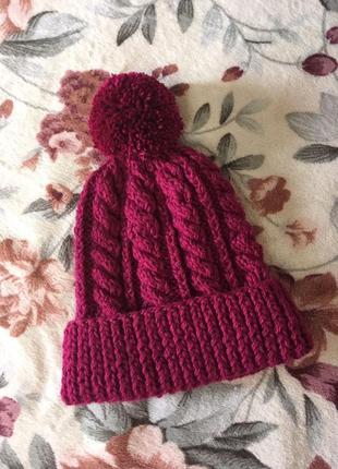 Вязанная шапка марсал ручная работа