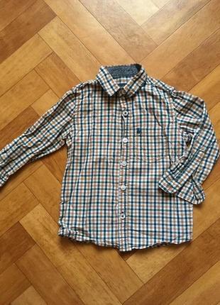 Хлопковая рубашка в клетку на 2 годика