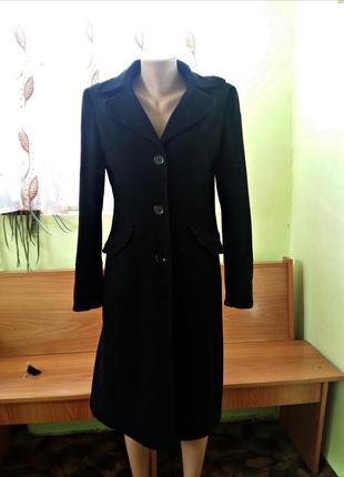 Длинное шерстяное пальто черное nl collection