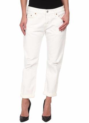 Стильные белые джинсы levi's ct 501 (origin usa) 28 размера с дырками