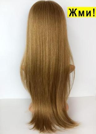 Натуральный парик 65 см. + видео. русый длинный из натуральных волос.