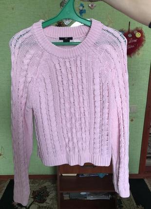 Укороченный свитер крупная вязка