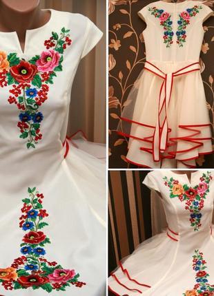 Платье вышитое с фатином