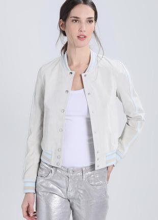 Тренд. новая 100% замша. куртка бомбер goosecraft, голландия. светлая пудра