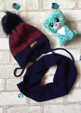 Комплект шапка+шарф на мальчика agbo польша, 44-46