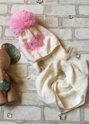 Зимний комплект шапка+шарф на девочку польша agbo 46-48
