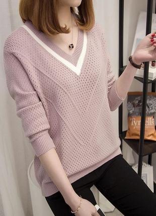 Свитер пуловер v-образный вырез
