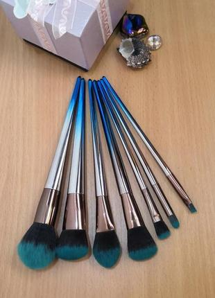 Акция ❤ кисти для макияжа набор 7 шт. градиент grey/blue