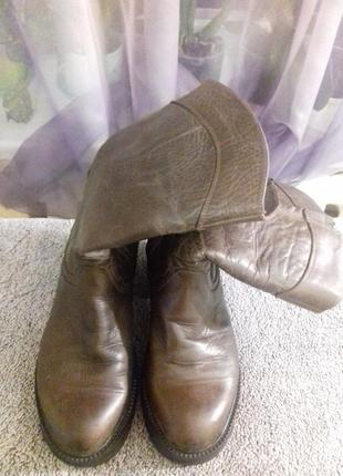 Утепленные коричневые кожаные ботинки на платформе rixy,италия, р.38