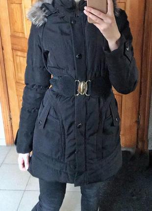 Зимняя куртка пуховик чёрная размер с