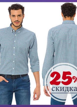 Белая мужская рубашка lc waikiki / лс вайкики в сине-голубую полоску с карманом на груди