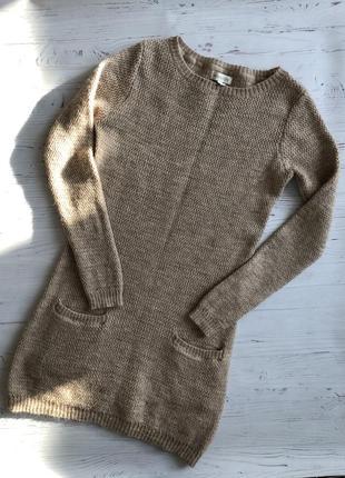 Бежевое трикотажное платье туника  moonsoon