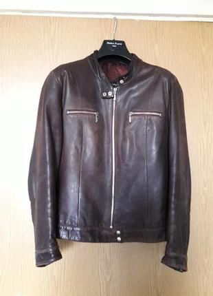 Куртка коричневая из натуральной кожи