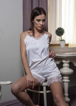 Женский шелковый комплект майка с шортами для дома и сна.2