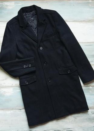 Классическое черное шерстяное пальто zara