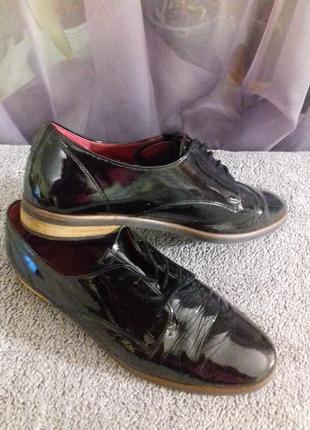 Лаковые черные туфли -оксфорды gabor, р.37,5