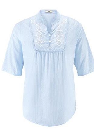 Стильная блуза туника с декоративной вышивкой 44р евро tcm tchibo германия смотрите замеры