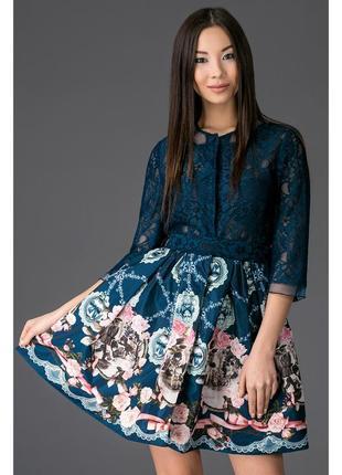 Бесподобное платье цвета морской волны с кружевом! +пояс!