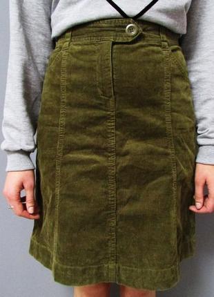 Вельветовая юбка-трапеция цвета хаки