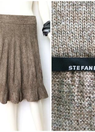 Stefanel стильная тёплая миди юбка в составе альпака цвет кофе с молоком меланж