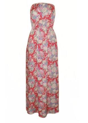 Длинное расклешенное летнее платье сарафан в пол макси цветочный принт размер 12 наш 46