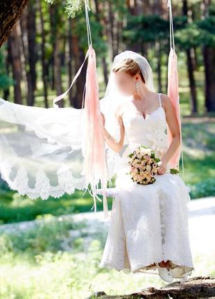 💍💐кружевное свадебное платье и длинная фата, цветочная вышивка, цвет молочный, айвори