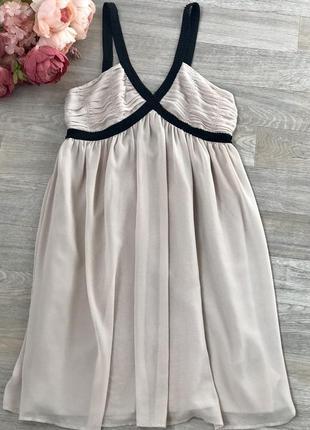 Бежевое вечернее, коктельное воздушное платье h&m