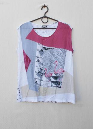 Летняя блузка из вискозы и хлопка  с принтом