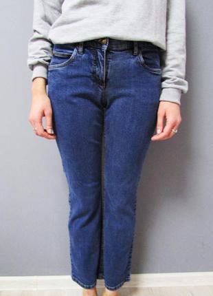 Синие джинсы прямого кроя, бойфренды с высокой посадкой