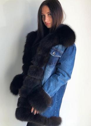 Джинсовая куртка с натуральным мехом чернобурки