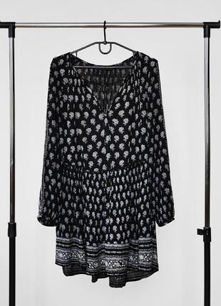Блуза туника с завязочками с красивым орнаментом от zara trafaluc