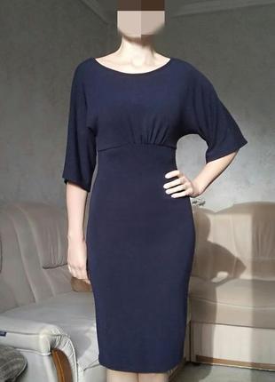 Темно-синее трикотажное платье olko