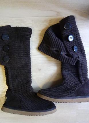 Вязанные угги ugg высокие на натуральной овчине сапоги зима осень ботинки