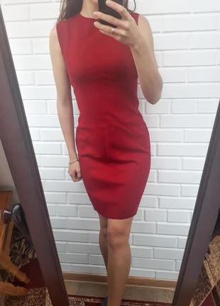 Осенее шерстяное красное платье миди zara в составе кашемир плаття сукня офисное платье
