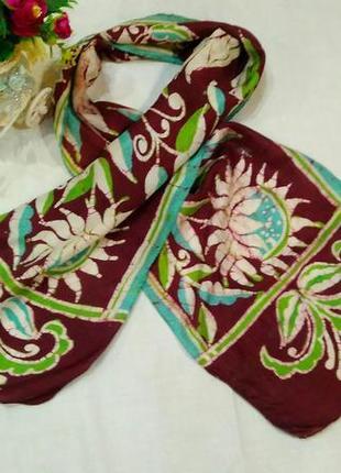 Индийский шелковый шарф платок ручная роспись