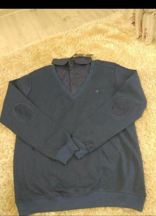 Синий мужской свитер обманка 3  хл 4 хл 5 хл