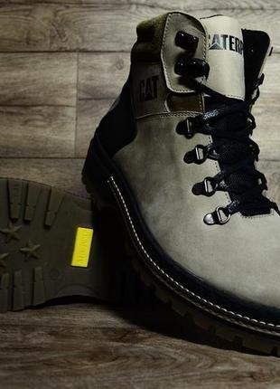 40 41 42 43 44 45 отличные мужские зимние ботинки сапоги caterpillar grey olive с мехом