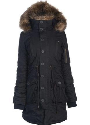 Женская зимняя парка куртка с мехом длинная