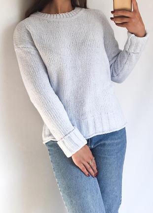 Мягкий плюшевый свитер небесно-голубого цвета