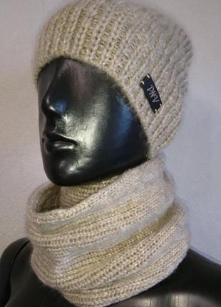 Вязаная теплая шапка с люриксом3